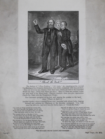 """Verses and a picture on the subject of temperance entitled """"Clench the Nails"""". New Mills."""