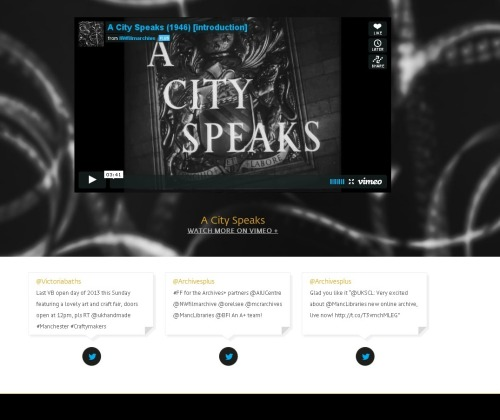 Archives+ homepage video panel and twitter feed