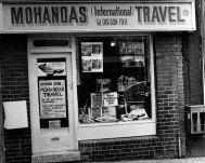 Outside of Vishnu Mohandas' travel shop on Penny Meadow
