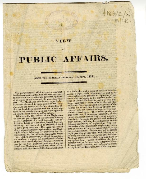 Peterloo Christian Observer 1819 pg 1